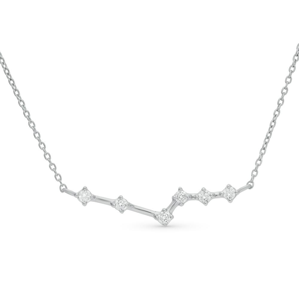шейное украшение из серебра с фианитами SUNLIGHT
