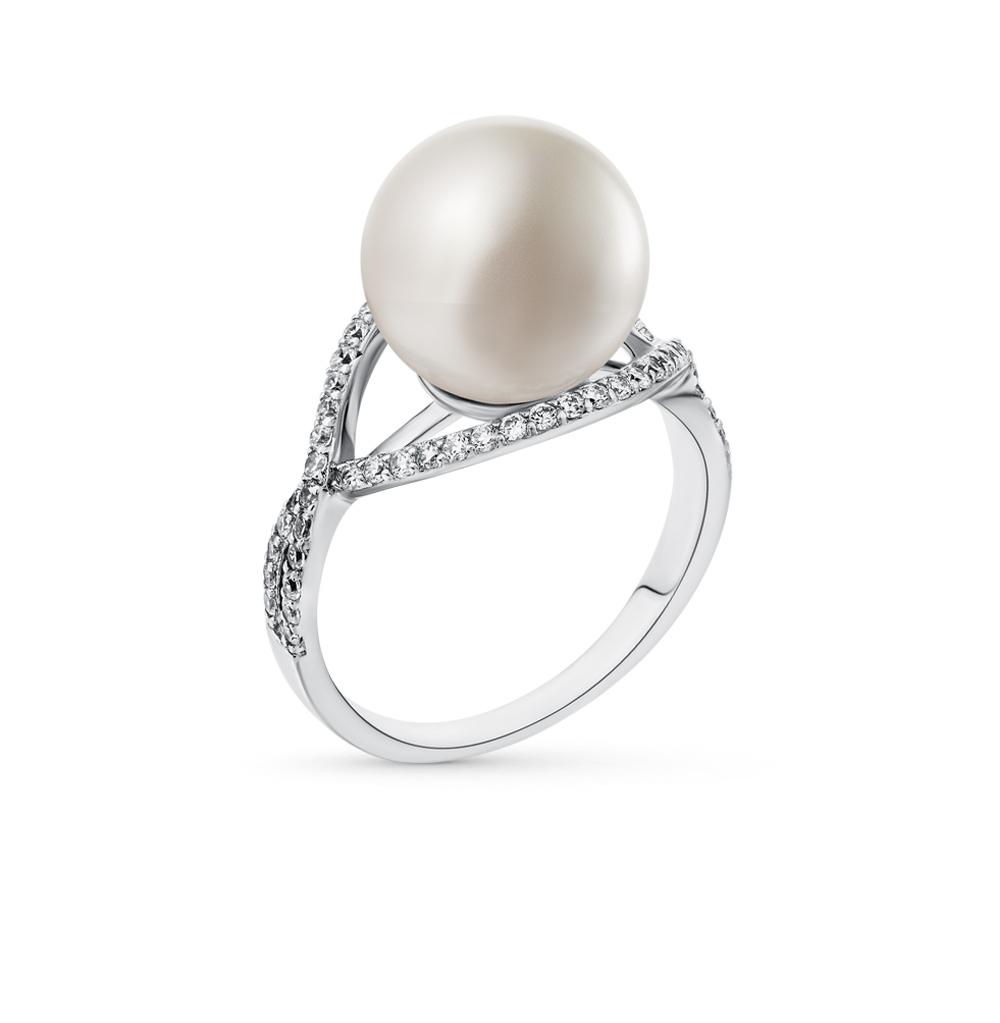 Фото «серебряное кольцо с жемчугом имитациями и фианитами»