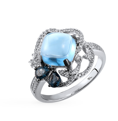 Фото «серебряное кольцо с бриллиантами, кварцами, топазами и фианитами»