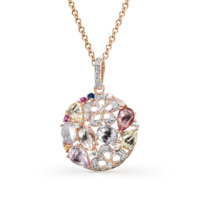 Фото «золотая подвеска с бриллиантами, аметистами, гранатами, цитринами, кварцами и топазами»