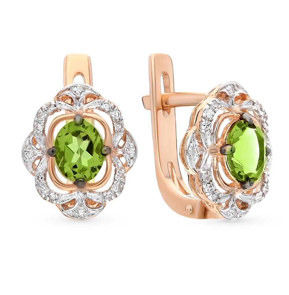 Фото «золотые серьги с бриллиантами и султанитами синтетическими»