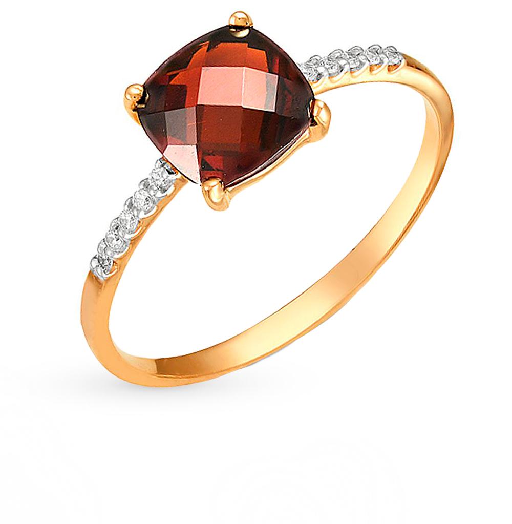 Фото «золотое кольцо с аметистами, гранатами, топазами, фианитами и родолитами синтетическими»