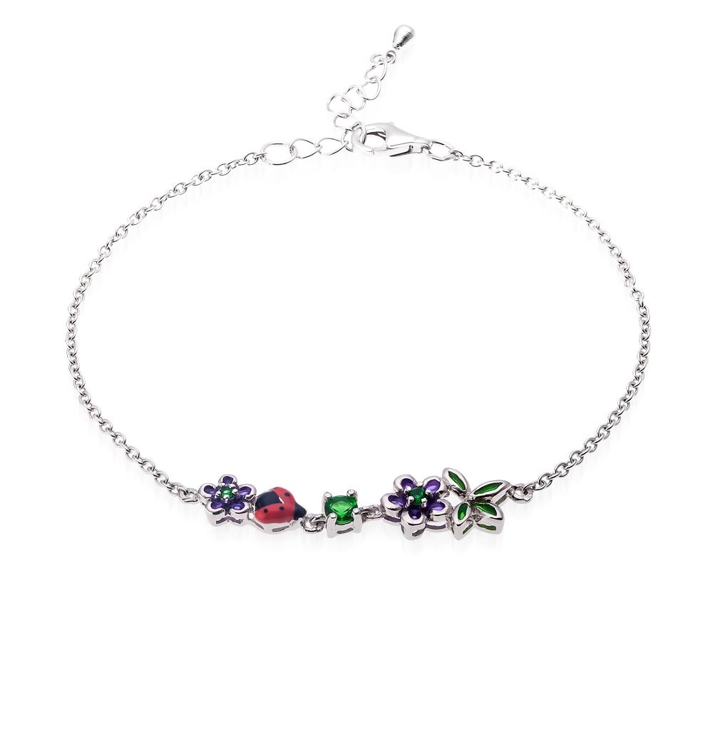 Фото «серебряный браслет с алпанитами и эмалью»