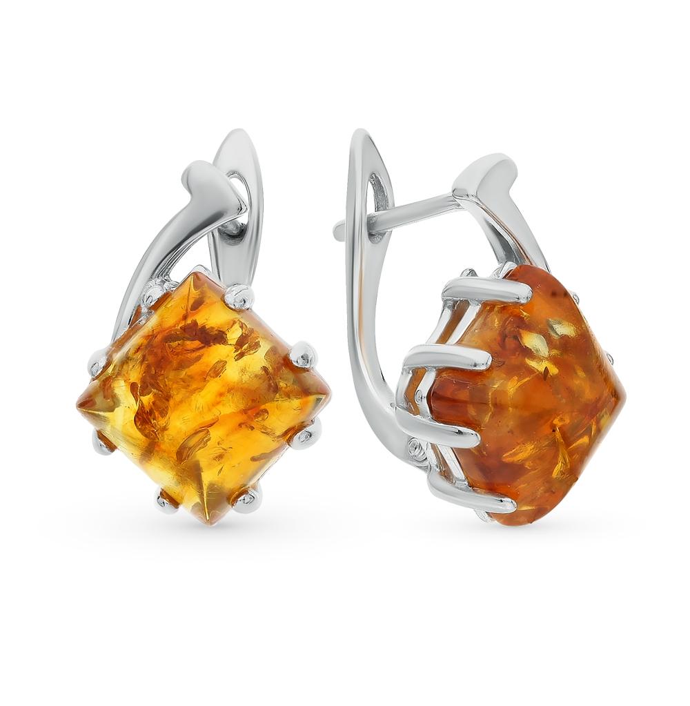 Фото «серебряные серьги с янтарями»