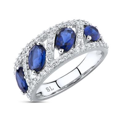 Фото «серебряное кольцо с сапфирами синтетическими, фианитами и сапфирами»