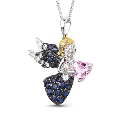 Фото «золотая подвеска с бриллиантами, сапфирами и топазами»