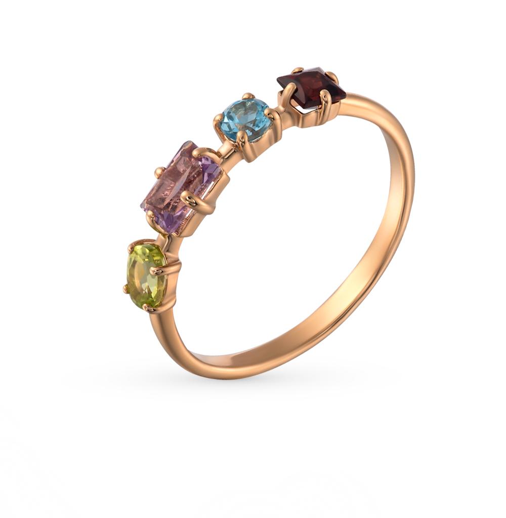Фото «золотое кольцо с аметистом, гранатом, топазами и хризолитом»