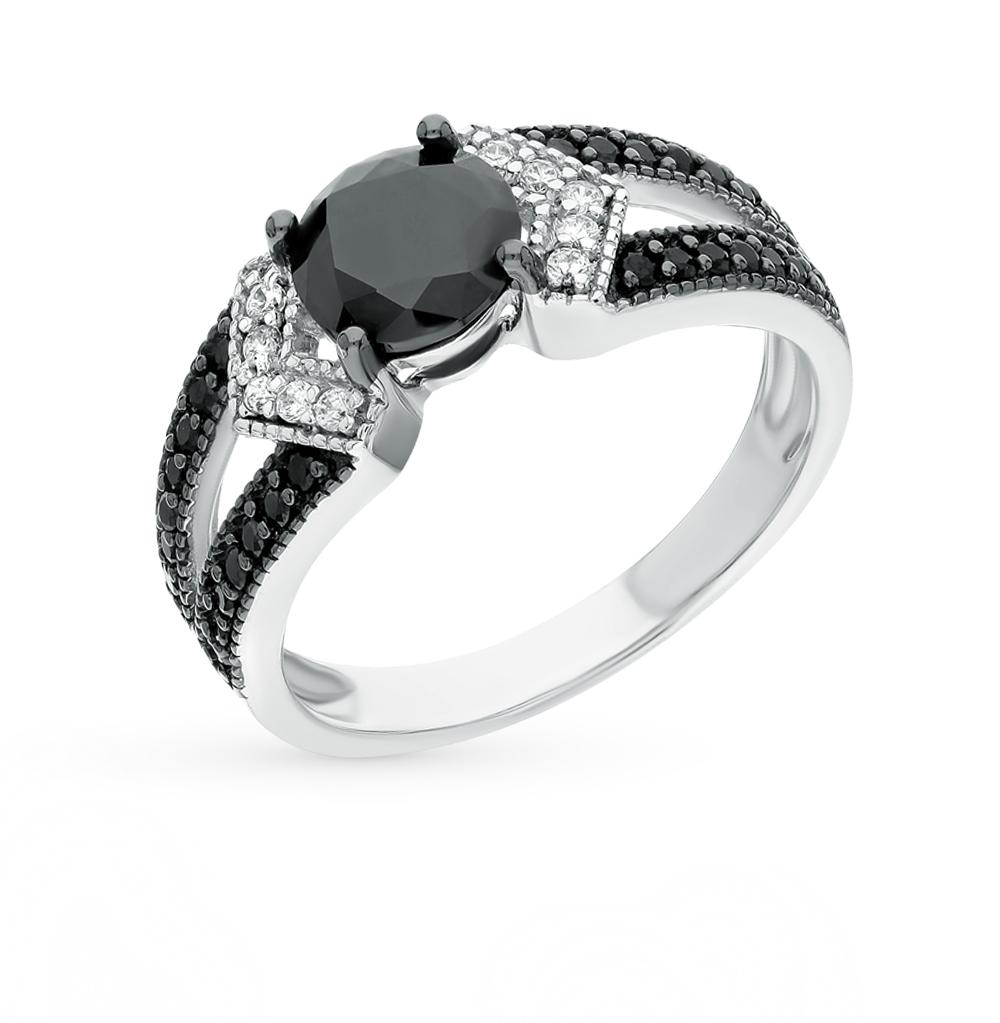 Фото «серебряное кольцо с ониксами синтетическими, шпинелями и фианитами»