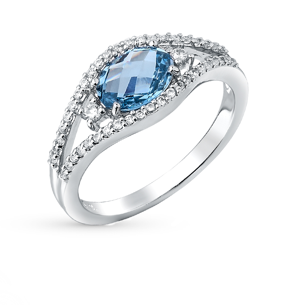 Фото «серебряное кольцо с фианитами и топазами синтетическими»
