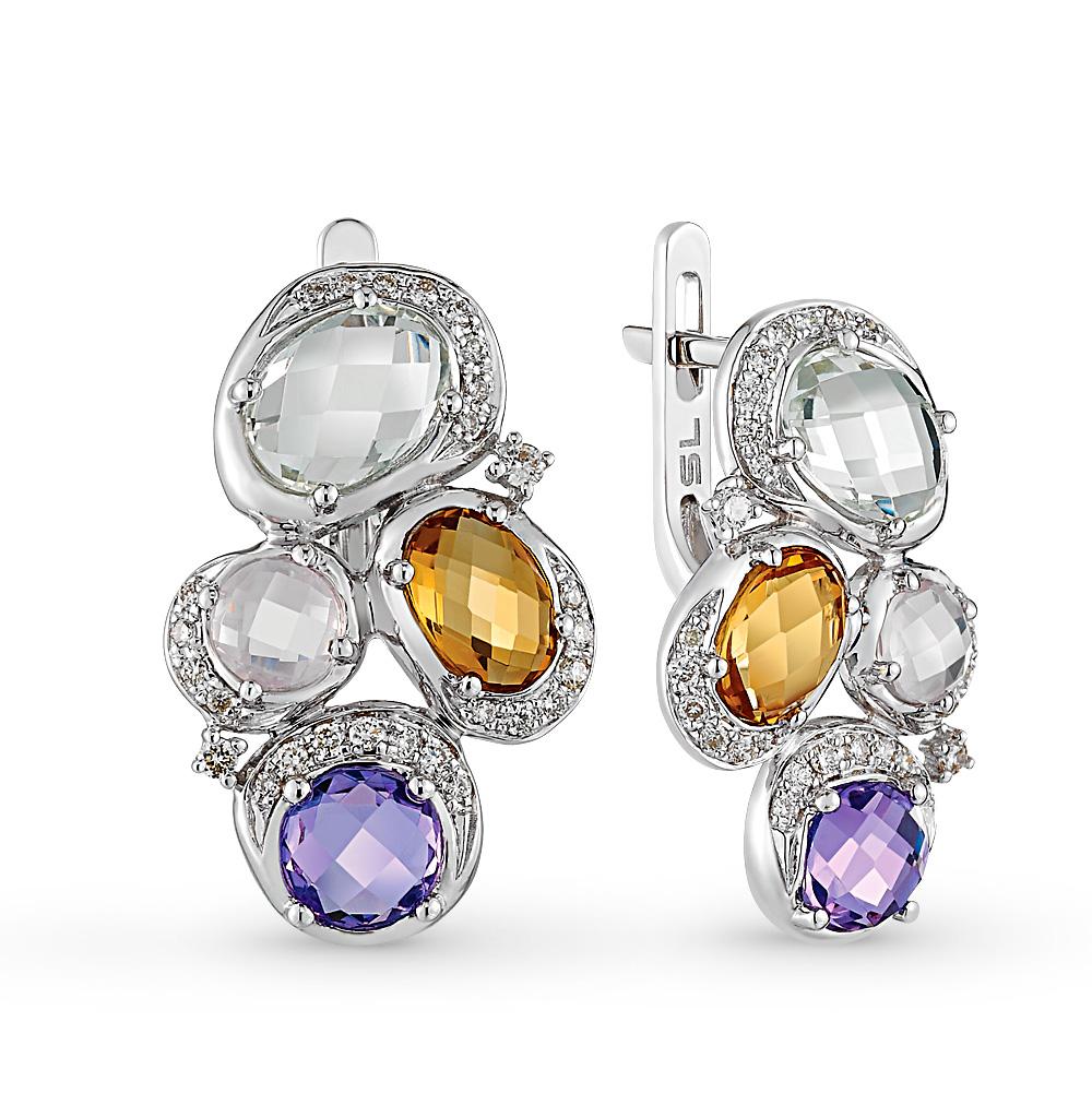 Фото «золотые серьги с бриллиантами, аметистами, цитринами и кварцами»