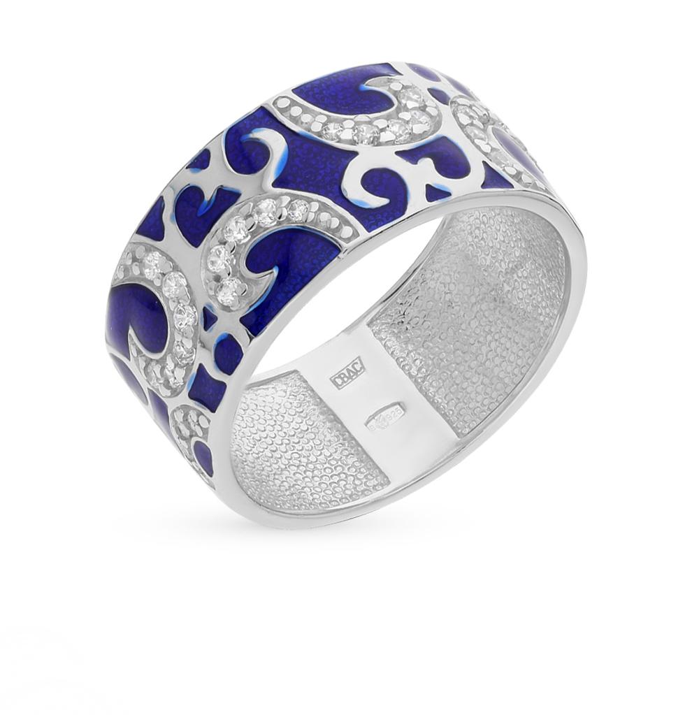 Фото «серебряное кольцо с рубинами синтетическими, фианитами и эмалью»