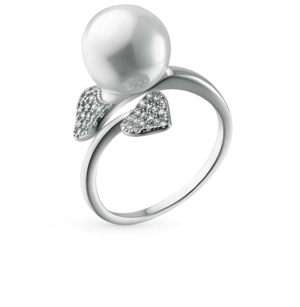 Фото «серебряное кольцо с жемчугами имитациями и фианитами»