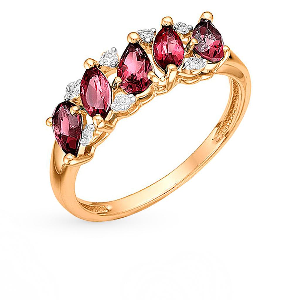 Фото «золотое кольцо с фианитами и родолитами»