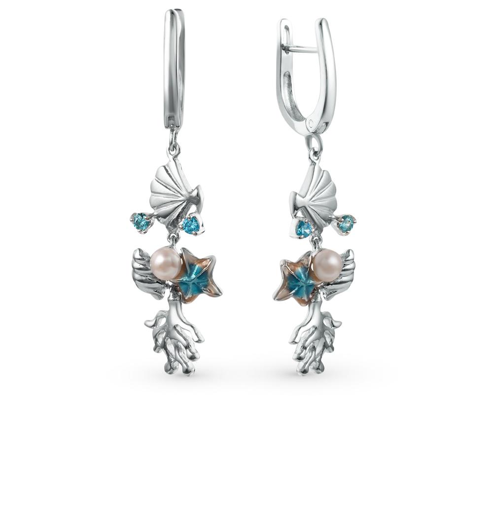 Фото «серебряные серьги с жемчугом, фианитами и эмалью»