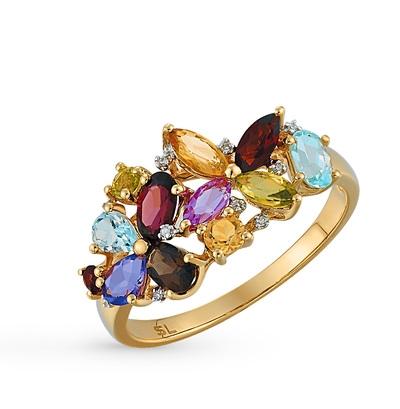 золотое кольцо с гранатом, цитринами, топазами, сапфирами, хризолитом, аметистом, родолитами, сапфирами синтетическими, раухтопазами