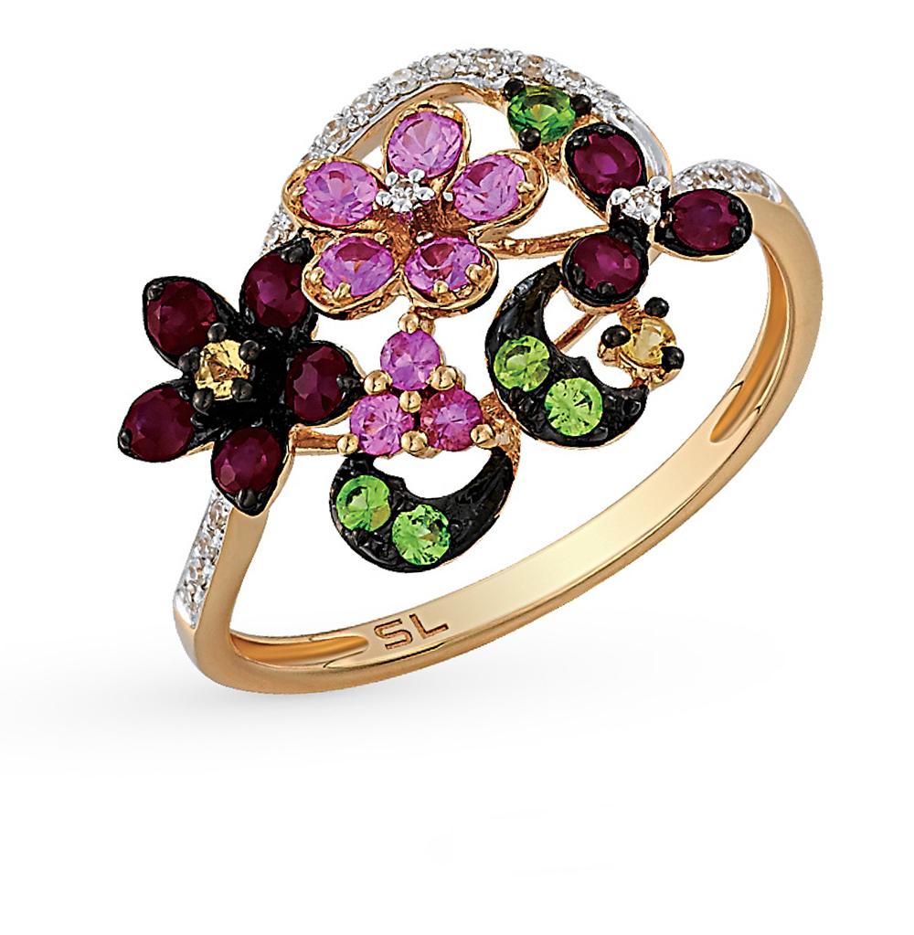 Фото «золотое кольцо с бриллиантами, гранатами, рубинами и сапфирами»