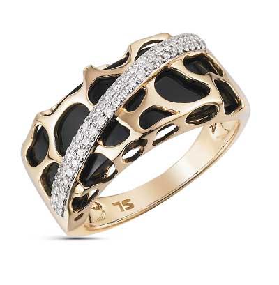 Фото «золотое кольцо с бриллиантами, ониксами синтетическими и ониксом»