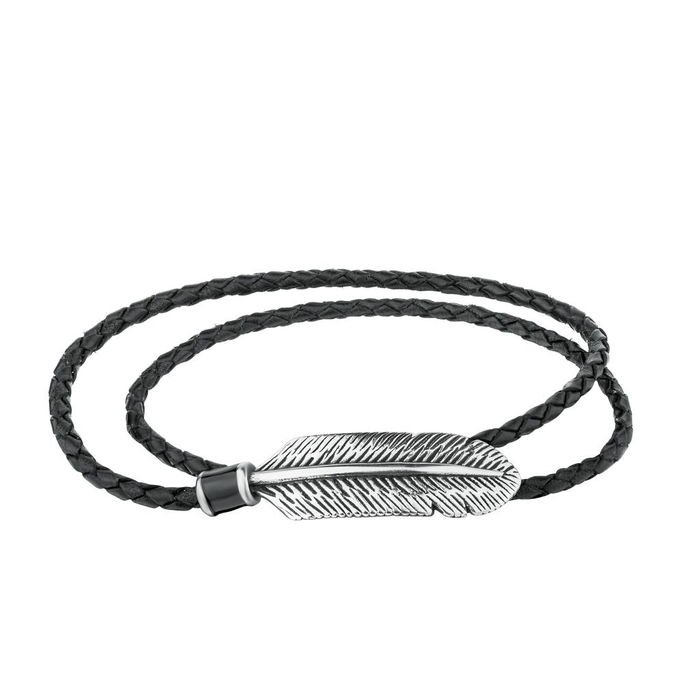 Фото «браслет из стали и кожи с эмалью»