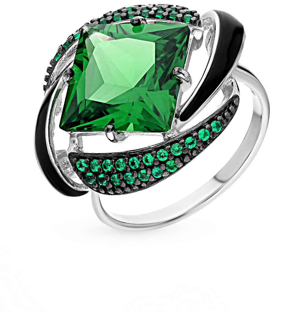Фото «серебряное кольцо с наноситалами, фианитами и эмалью»