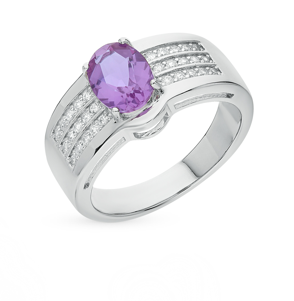 Фото «серебряное кольцо с алекситами и фианитами»