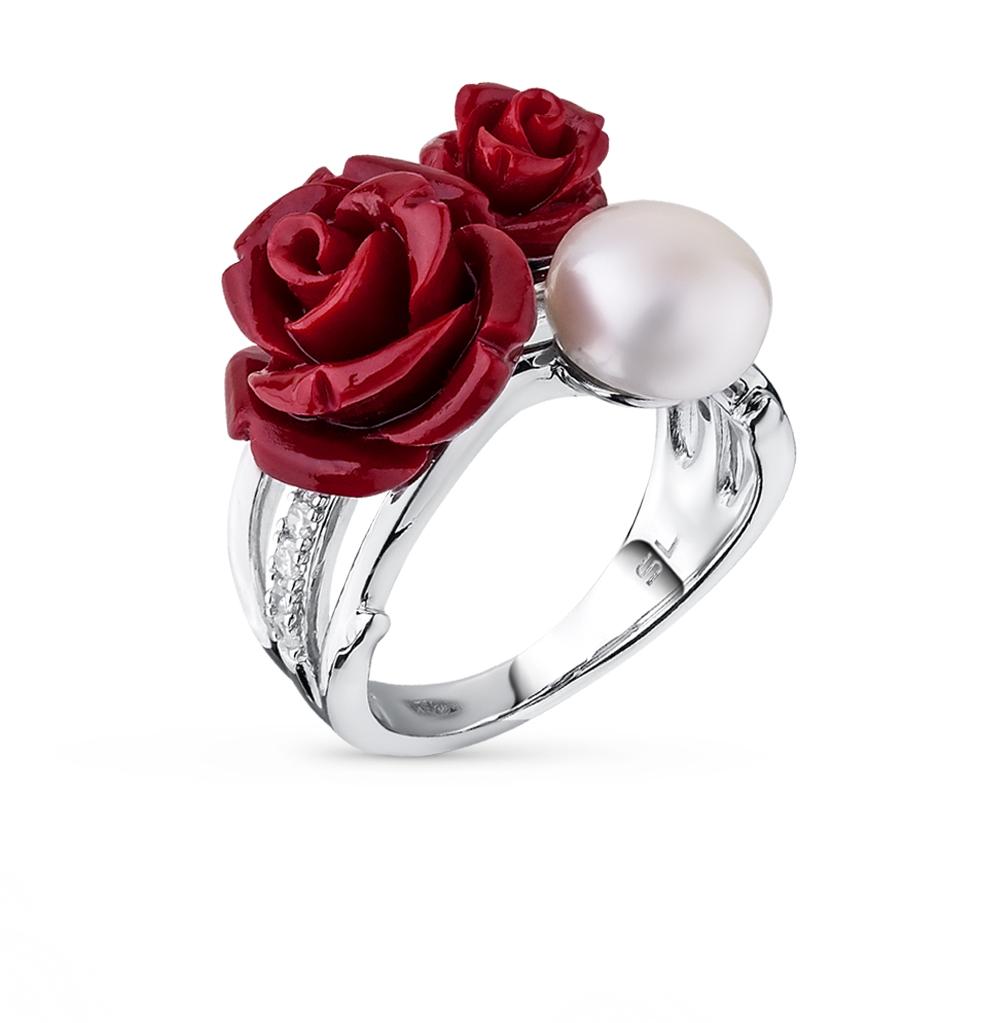 Фото «серебряное кольцо с фианитами, кораллами и жемчугом»