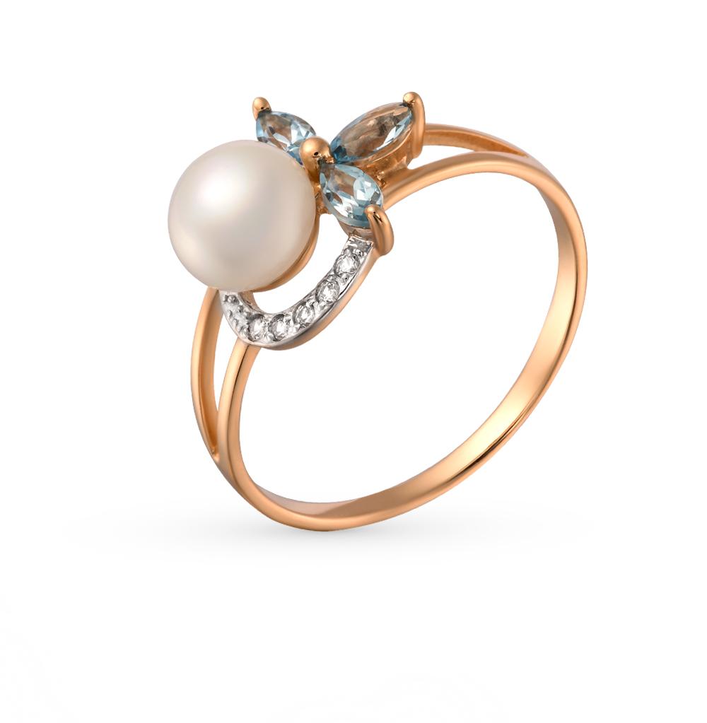 Фото «золотое кольцо с топазами, фианитами и жемчугом»