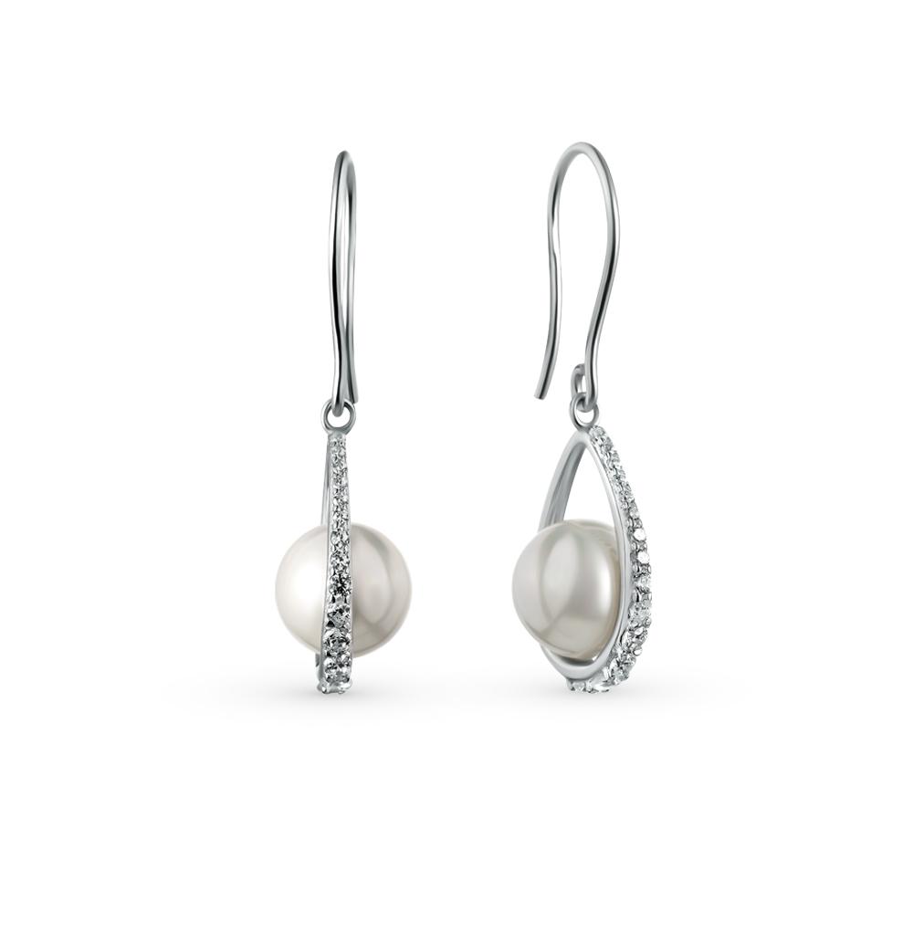 Фото «серебряные серьги с жемчугами имитациями и фианитами»