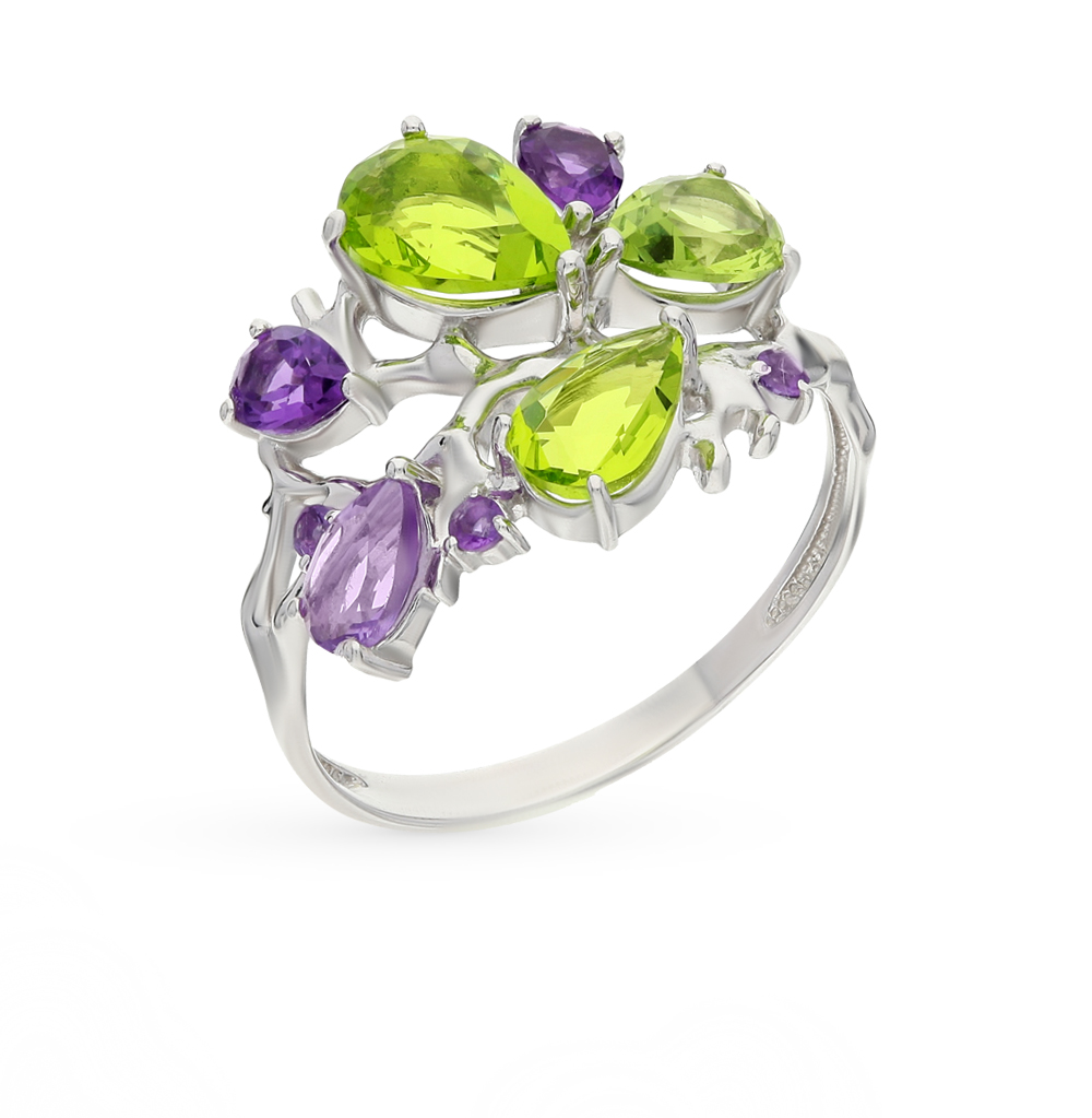 Фото «серебряное кольцо с аметистами и хризолитами синтетическими»