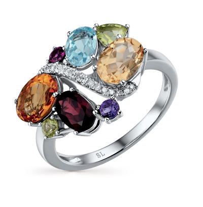 золотое кольцо с бриллиантами, аметистами, гранатами, цитринами, топазами и хризолитами SUNLIGHT