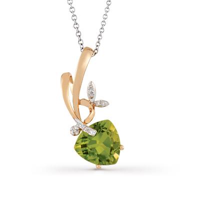 Фото «золотая подвеска с бриллиантами и хризолитами»