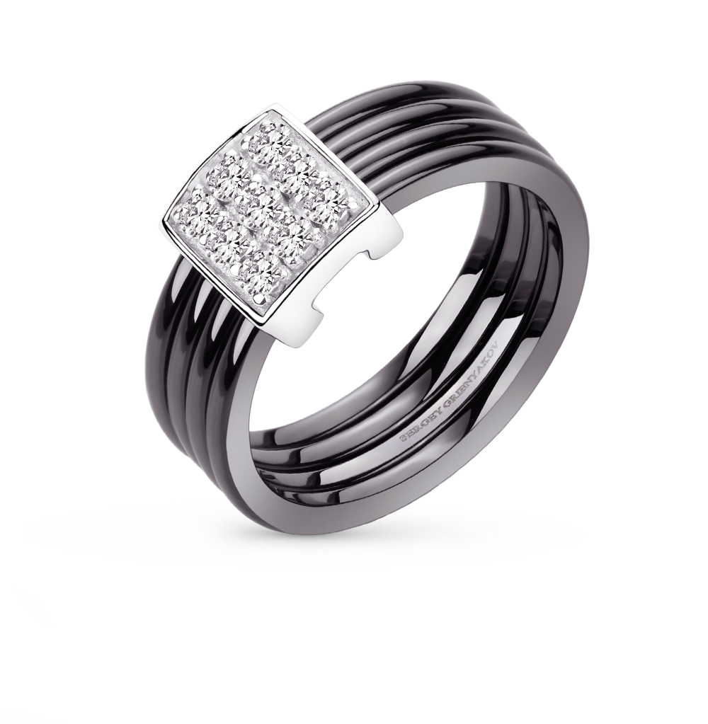 Фото «кольцо из керамики и серебра с бриллиантами»
