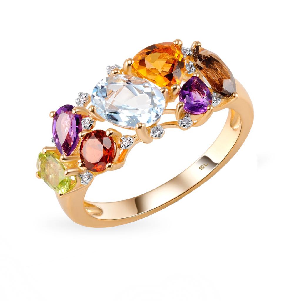 Фото «золотое кольцо с бриллиантами, аметистами, гранатами, кварцами дымчатыми, топазами, цитринами и хризолитами»