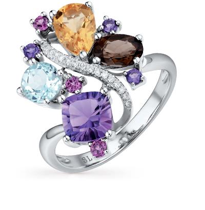 Фото «золотое кольцо с бриллиантами, аметистами, гранатами, цитринами и топазами»