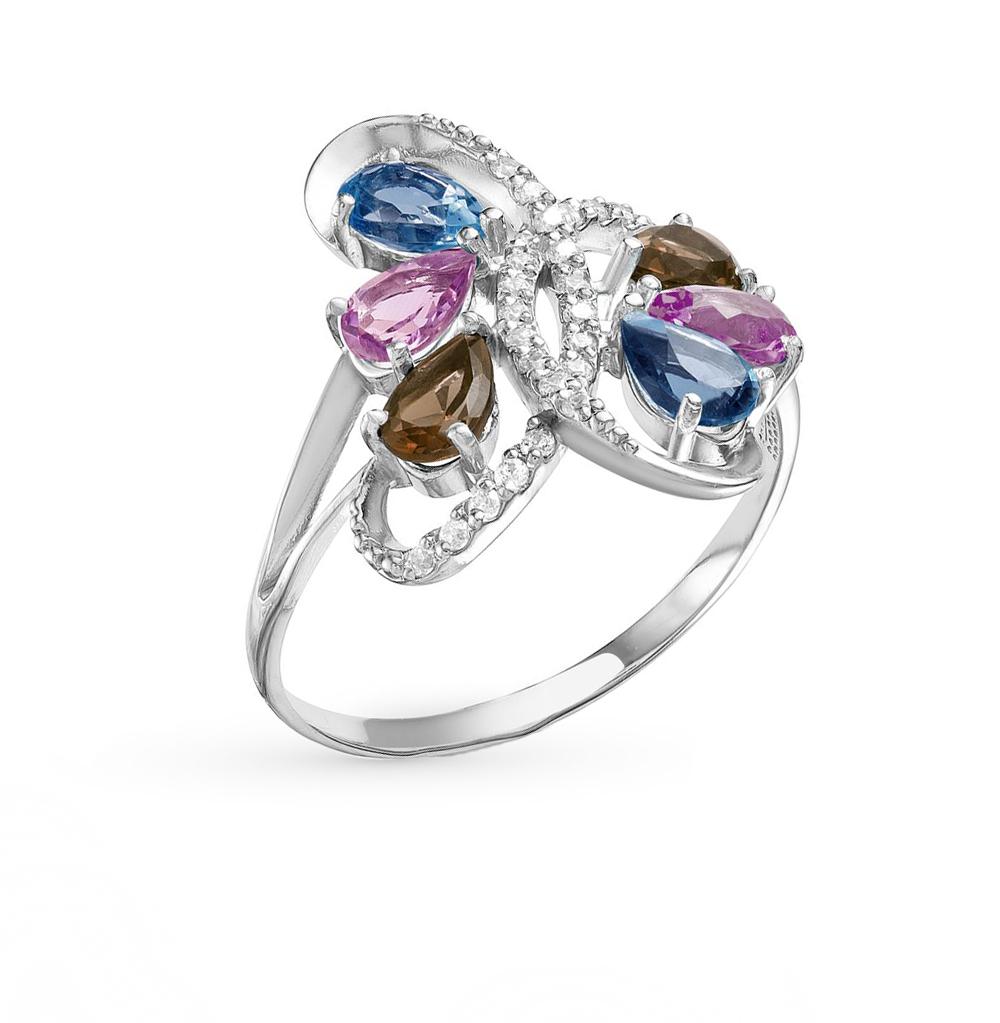 Фото «серебряное кольцо с аметистами, топазами, фианитами и раухтопазами»