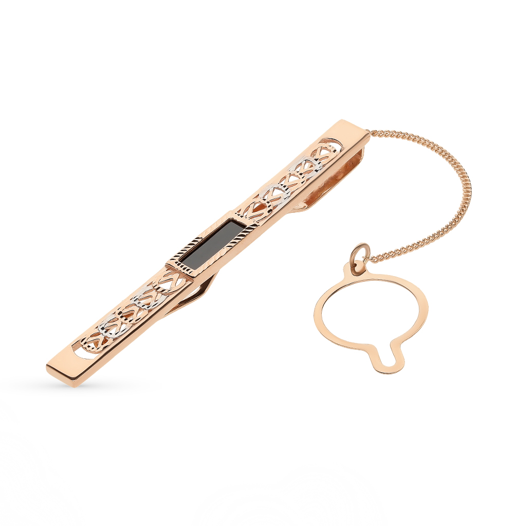 золотой зажим для галстука с фианитами SUNLIGHT