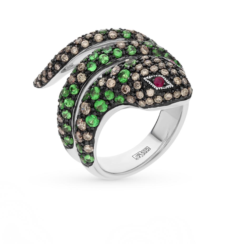Фото «золотое кольцо с чёрными и коньячными бриллиантами, гранатом и рубинами»