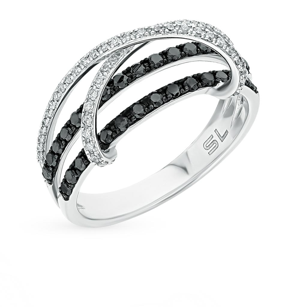 Фото «золотое кольцо с чёрными и белыми бриллиантами»