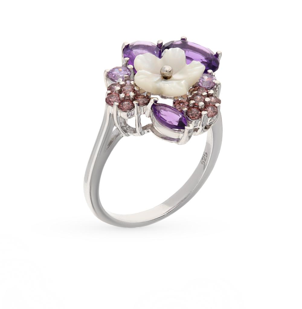 Фото «серебряное кольцо с аметистами, фианитами и перламутром»