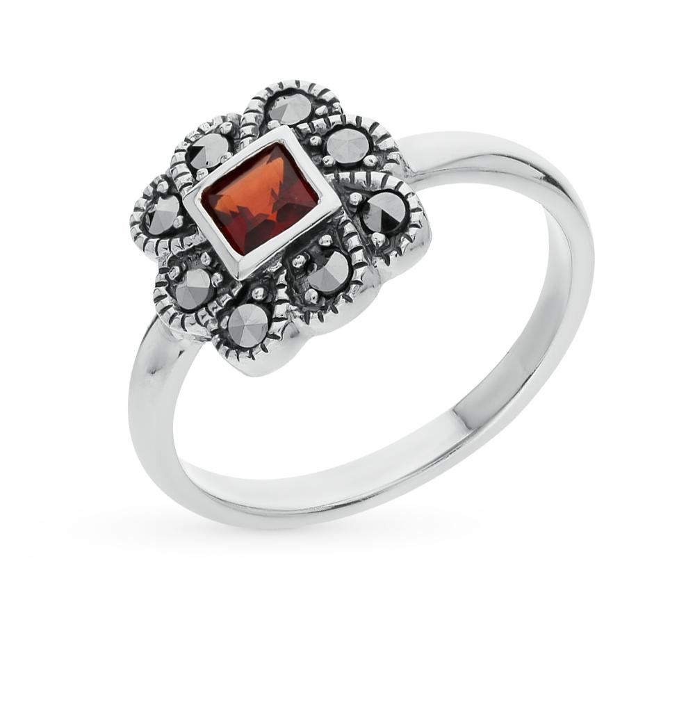 Фото «серебряное кольцо с марказитами и гранатами»