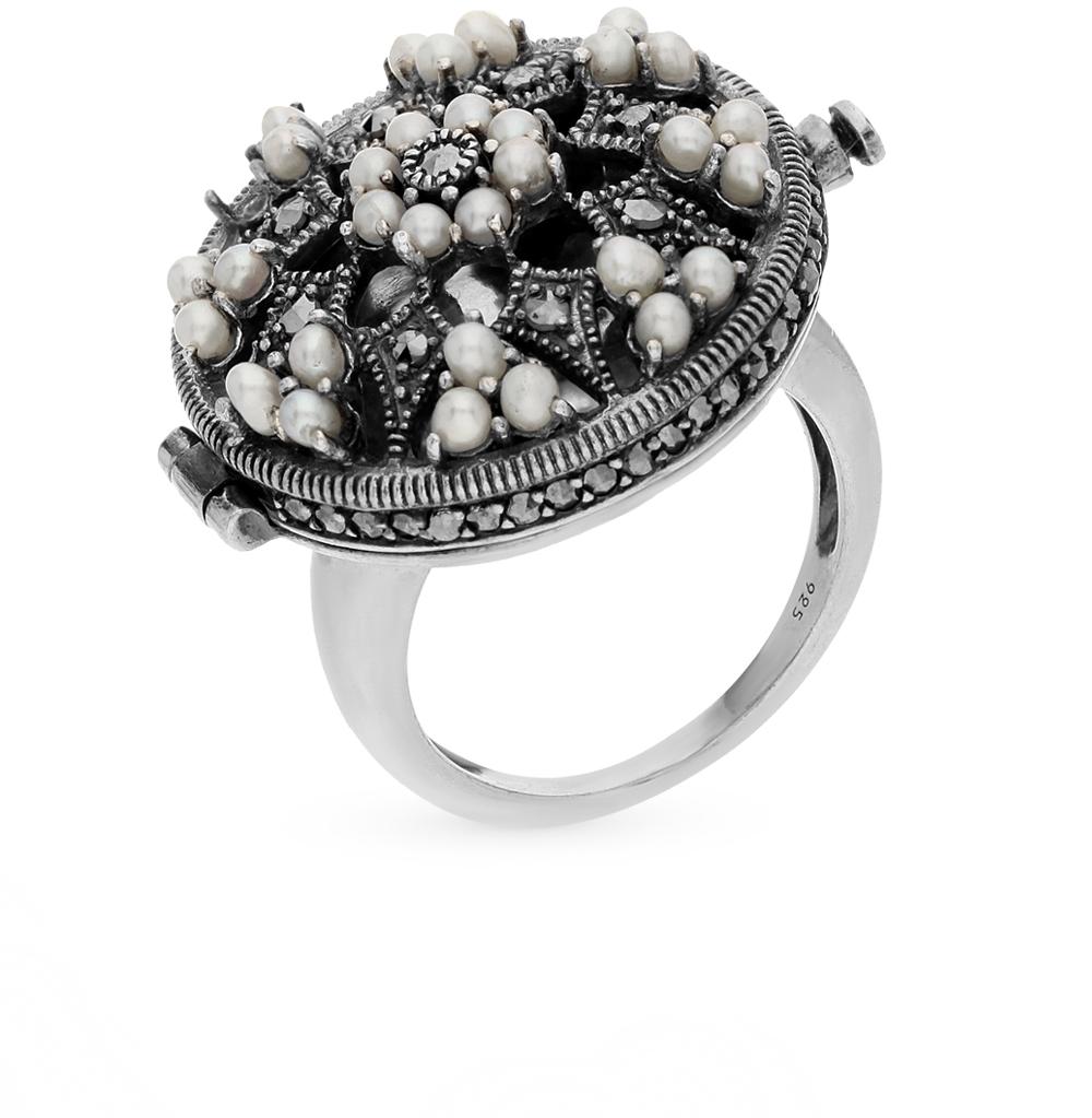 Фото «серебряное кольцо с марказитами и жемчугами»