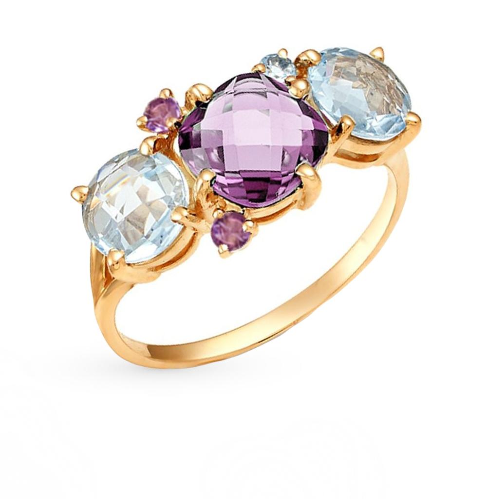Фото «золотое кольцо с аметистом и топазами»