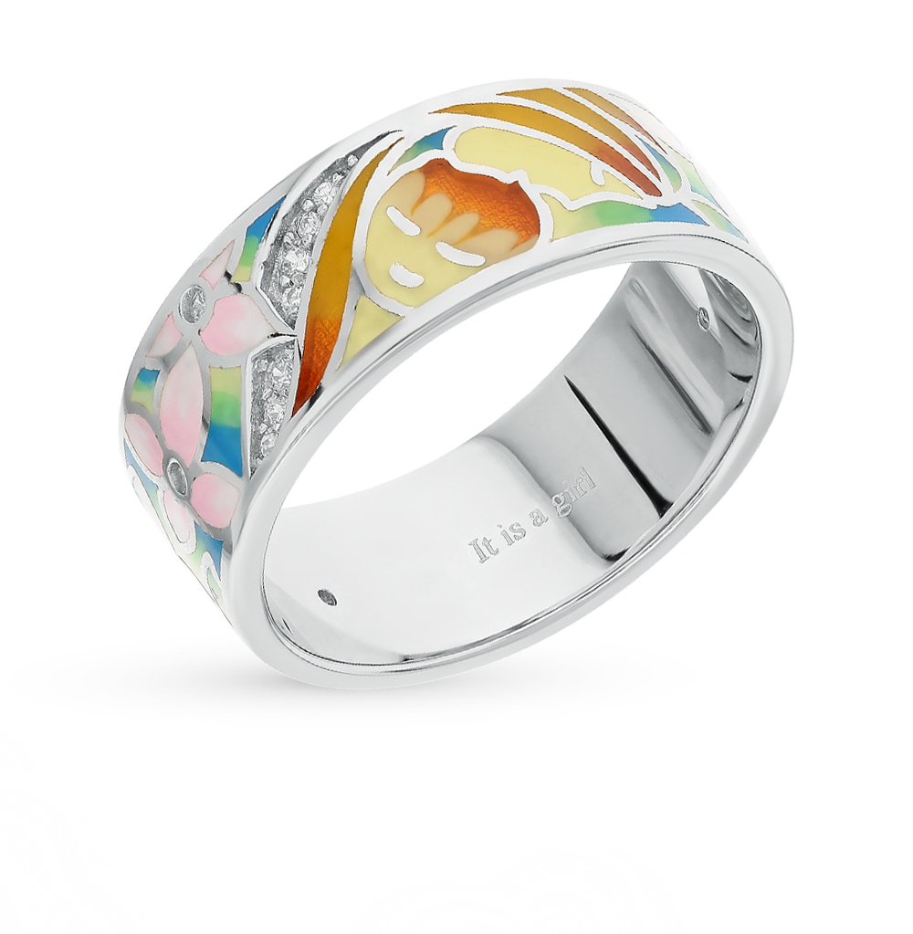 Фото «серебряное кольцо с витражными эмалями, фианитами и эмалью»