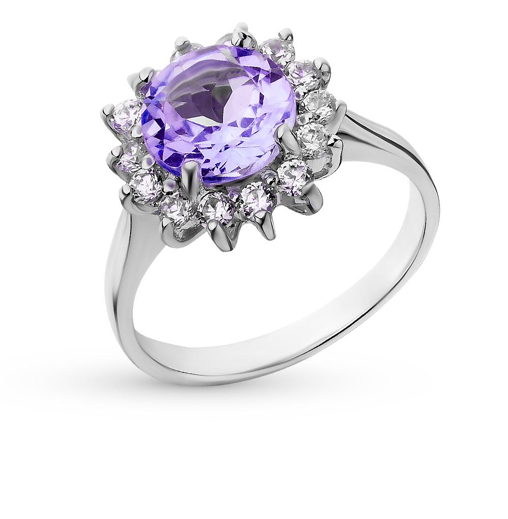 Фото «серебряное кольцо с аметистами синтетическими и фианитами»