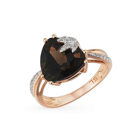 Фото «золотое кольцо с бриллиантами и раухтопазами (кварцами дымчатый)»