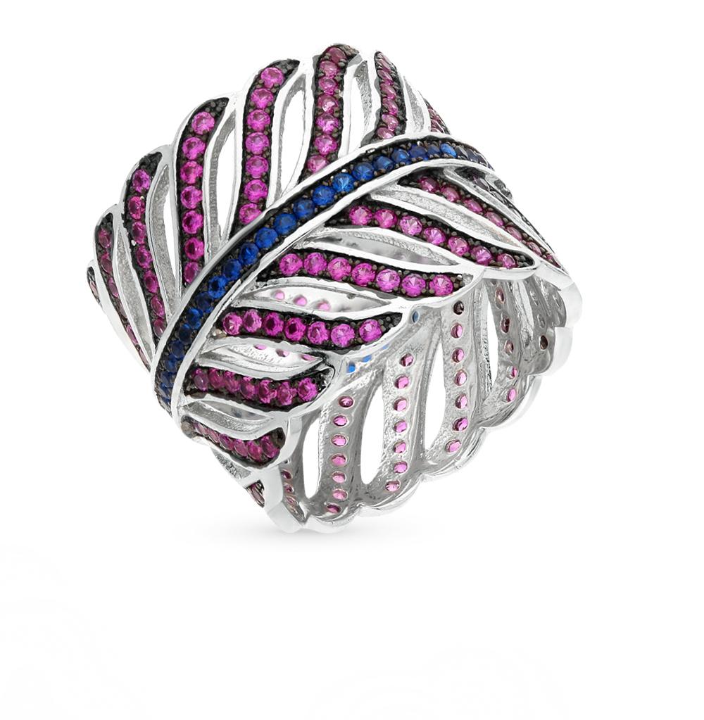 Фото «серебряное кольцо с сапфирами синтетическими и шпинелями синтетическими»