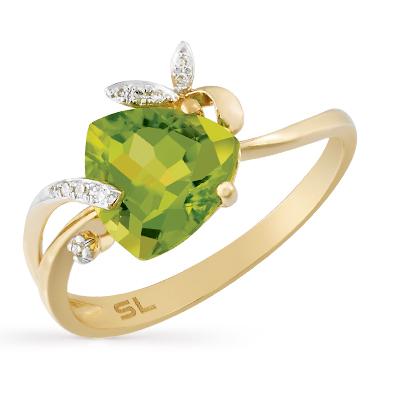 Фото «золотое кольцо с бриллиантами и хризолитами»