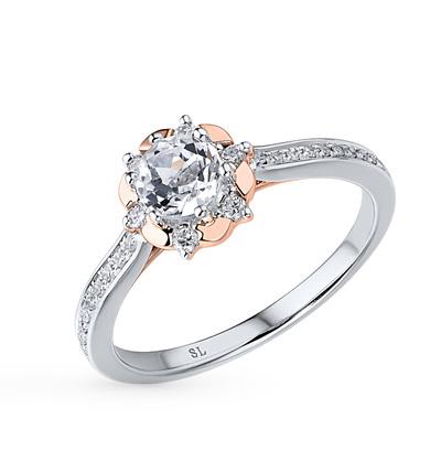 Фото «серебряное кольцо с бриллиантами, шпинелями синтетическими, топазами и фианитами»