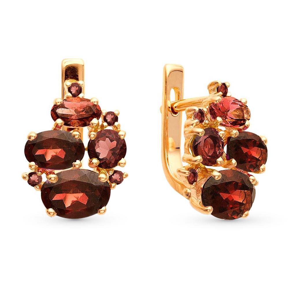 Фото «золотые серьги с гранатами и фианитами»