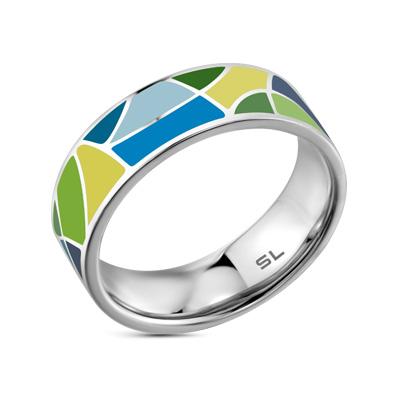 Фото «серебряное кольцо с бриллиантами, фианитами и эмалью»