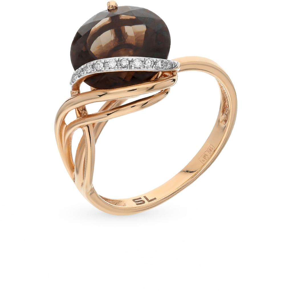 Фото «золото кольцо с бриллиантами и раухтопазами (кварцами дымчатый)»